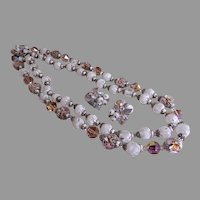 Coro Vendome Faceted & Smooth Glass Bead Necklace & Earrings Set