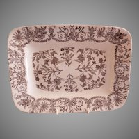 "T & R Boote Ironstone Brown Transferware Small Size Platter ""Lahore"" Pattern"
