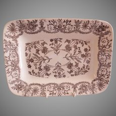 """T & R Boote Ironstone Brown Transferware Small Size Platter """"Lahore"""" Pattern"""