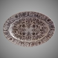 "T & R Boote Ironstone Brown Transferware Large Oval Size Platter ""Lahore"" Pattern"