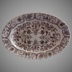 """T & R Boote Ironstone Brown Transferware Large Oval Size Platter """"Lahore"""" Pattern"""