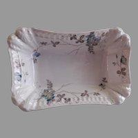 PH Leonard, Vienna, Austria, Porcelain Open Vegetable Bowl w/Teal Floral Motif
