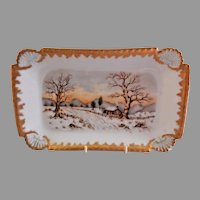 T&V Limoges Hand Painted 7-Piece Dessert Tray & Plates w/Scenic Motifs