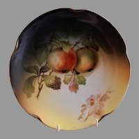 Jaeger & Co. Cabinet Plate w/Apples Motif - Signed A. Koch