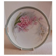 R.S. Germany (Blue Mark) Cabinet Plate w/Pink & White Spike Flowers Floral Motif