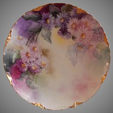 Rosenthal & Co. Hand Paint Cabinet Plate: Multi-Colored Aster Blossoms Motif