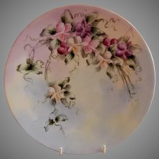 Jean Pouyat (JPL) Limoges Hand Painted Cabinet Plate w/Colorful Sweet Pea Floral Motif