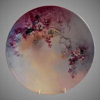 Jean Pouyat (JPL) Limoges Hand Painted Cabinet Plate w/Colorful Spring Floral Motif
