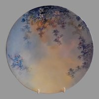 Jean Pouyat (JPL) Limoges Hand Painted Cabinet Plate w/Forget-Me-Not Floral Motif