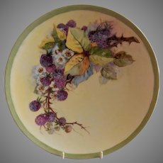 Thomas Bavaria Hand Painted Charger w/Blackberries motif - Artist Signed