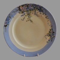 Germany Porcelain Hand Painted Charger w/Forget-Me-Not Blossoms Motif