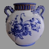 Jaeger & Co Bavaria H. P. Floral Motif Pillow Vase w/Dragon Handles - Artist Signed & Dated