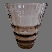 Kosta Boda Smokey Amber Crystal Art Deco Vase Designed by Elis Berg