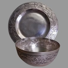Maciel Silver Factory Mid-Century Sterling - Bowl & Underplate w/Repousse Floral Pattern