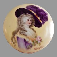 T&V Limoges H.P. Dresser/Vanity Box w/ Portrait of Duchess of Devonshire - Artist Signed