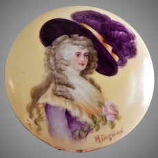 T&V Limoges H.P. Dresser/Vanity Box w/ Portrait of Duchess of Devonshire - Artist Signed