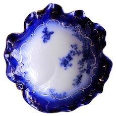 "Wheeling Pottery Flow Blue ""LaBelle"" Sculptured Open Vegetable Bowl"