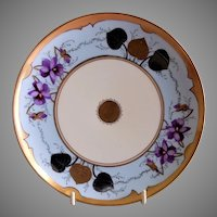 J.H.Stouffer Hand Painted Plate w/Violet Blossoms, Gold & Platinum Foliage - Signed Arno