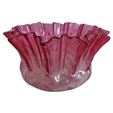 Hobbs Brockunier Rubina Crystal Fluted Bowl