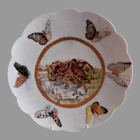 "Bawo & Dotter Hand Painted ""Shore Birds & Butterflies"" Plate - #1 of Set of 6 Plates - Artist Signed & Dated"