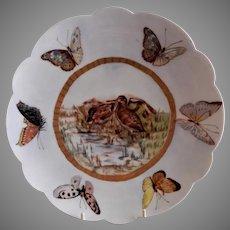 "Bawo & Dotter Hand Painted ""Shore Birds & Butterflies"" Plate - #1 of Set of 6 Plates - Artist Signed & Dated"