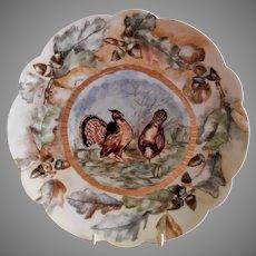 "Bawo & Dotter Hand Painted ""Wild Turkeys & Oak Leaves"" Plate - #2 of Set of 6 Plates - Artist Signed & Dated"