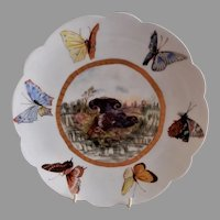 """Bawo & Dotter Hand Painted """"Ruffled Grouse & Butterflies"""" Plate - #3 of Set of 6 Plates - Artist Signed & Dated"""