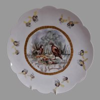 """Bawo & Dotter Hand Painted """"Covey of Quail & Honey Bees"""" Plate - #4 of Set of 6 Plates - Artist Signed & Dated"""