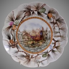 """Bawo & Dotter Hand Painted """"Pheasant & Pine Branches"""" Plate - #5 of Set of 6 Plates - Artist Signed & Dated"""