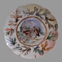 "Bawo & Dotter Hand Painted ""Shore Birds & Autumn Oak Leaves"" Plate - #6 of Set of 6 Plates - Artist Signed & Dated"