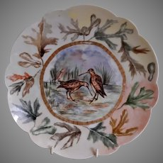 """Bawo & Dotter Hand Painted """"Shore Birds & Autumn Oak Leaves"""" Plate - #6 of Set of 6 Plates - Artist Signed & Dated"""