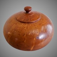 Vintage Birdseye Maple Treenware Covered Jar