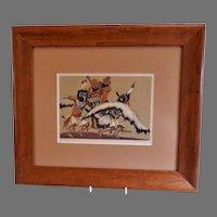 "Anna Barry ""Hopi Eagle Dancer"" Silk Screen Print - Taos School 1940's"