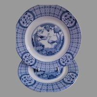 "Johnson Bros Blue Transfer-ware ""Mongolia"" Pattern - Pair of Luncheon Plates"