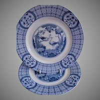 """Johnson Bros Blue Transfer-ware """"Mongolia"""" Pattern - Pair of Luncheon Plates"""