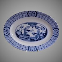 "Johnson Bros Blue Transfer-ware ""Mongolia"" Pattern Oval Serving Platter"