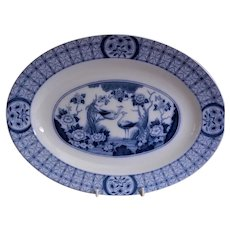 "Johnson Bros Blue Transfer-ware ""Mongolia"" Pattern Oval Serving Platter"