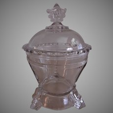 "EAPG - Hobbs Brockunier & Co. ""Viking"" or ""Bearded Man"" Pattern Covered Sugar Bowl"