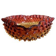 American Art Glass Amberina Hobnail Serving Bowl