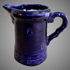 Porcelain Creamer - Medieval Castle Tower/Turrent Design - Cobalt Blue Glaze