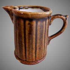 Porcelain Creamer - Vertical Columns Design - Bennington-Type Glaze