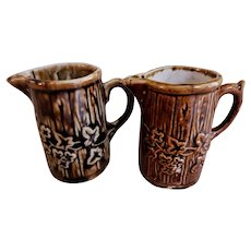 Pair of Miniature Pitchers - Flowering Vines Design - Bennington-Type Glaze