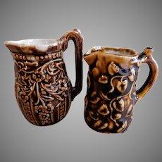 Pair of Miniature Pitchers - Flowering Vines & Cascading Flowers Design - Bennington-Type Glaze