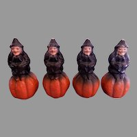 Halloween Paper Mache Witch on Pumpkin Candy Container - 1940's