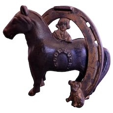 "Cast Iron Arcade Buster Brown & Tige ""Good Luck"" Horse Bank"