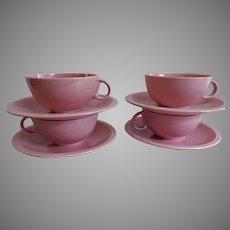 "Vernon Kilns ""Ultra California"" Pink Carnation Cups & Saucers - Set of 4"