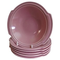 "Vernon Kilns ""Ultra California"" Pink Carnation Lugged Chowder Bowls - Set of 6"