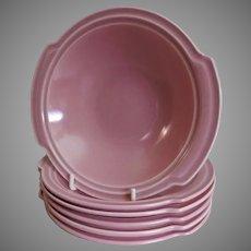 "Vernon Kilns ""Ultra California"" Pink Carnation Lugged Chowder Bowls - Set of 6"