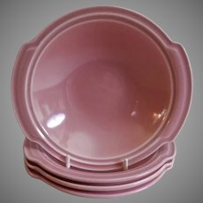 "Vernon Kilns ""Ultra California"" Pink Carnation Lugged Chowder Bowls - Set of 4"