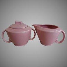 "Vernon Kilns ""Ultra California"" Pink Carnation Sugar & Creamer Set"